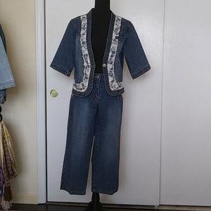 💙Denim d Gree Jacket & Crop Pants S- 12